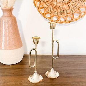 Set of 2 Vintage Aged Brass Trumpet Candlesticks